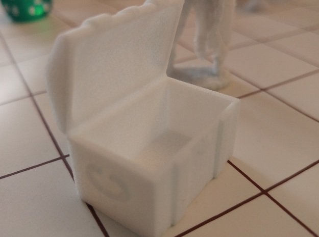 Tabletop: Open Chest in White Processed Versatile Plastic