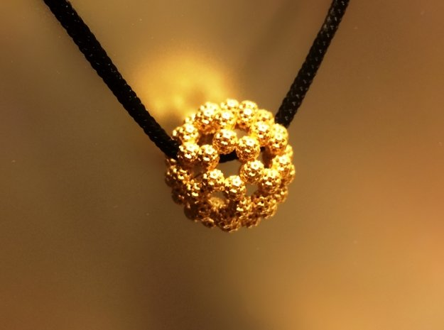 Fractal Fullerene Pendant in 18K Gold Plated