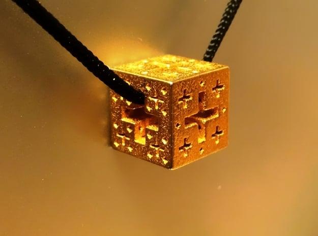 Jerusalem Cube Fractal Pendant in Polished Gold Steel