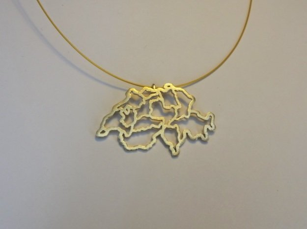 Swiss Pendant in Natural Brass