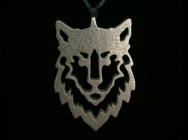 Wolf Pendant in Polished Bronzed Silver Steel