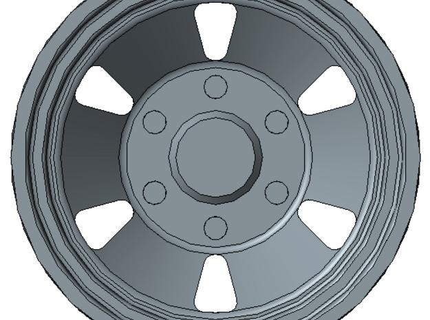 1/87 HO trailer wheel set 3 in Smooth Fine Detail Plastic