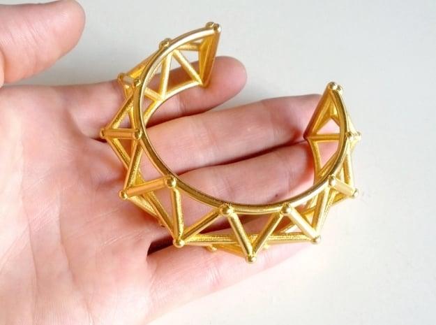 Geo Spike Bracelet in Polished Gold Steel