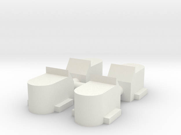 7mm Round Bottom axel boxes in White Natural Versatile Plastic