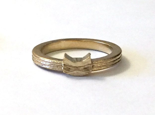 Tiny Cat Face Ring in Natural Brass: 7 / 54