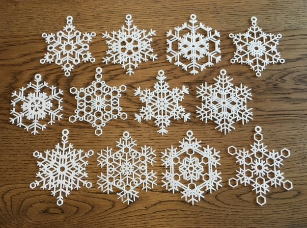 Snowflake Ornaments - One Dozen Large in White Natural Versatile Plastic