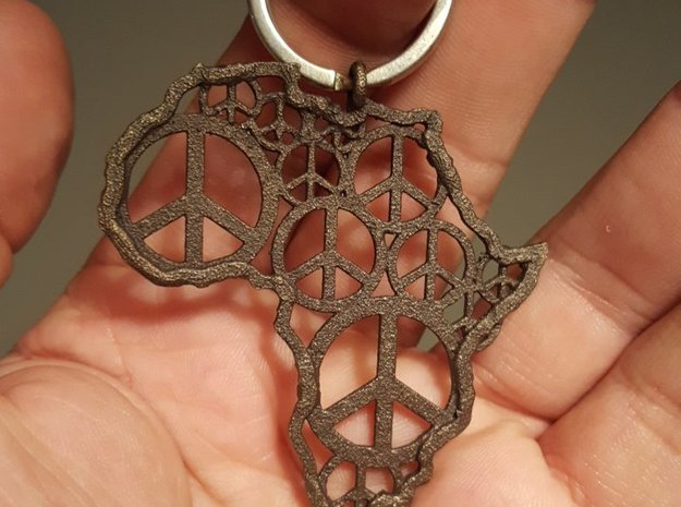 African peace in Polished Bronzed Silver Steel