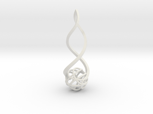 Twirl Pendant in White Natural Versatile Plastic