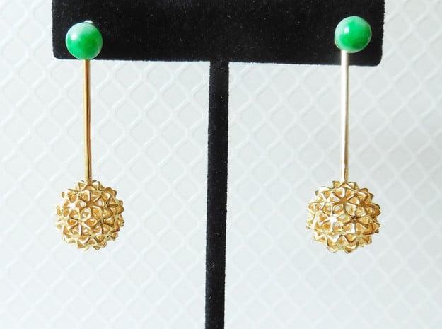 Virus Ball -- Earring Jackets or Earrings in Metal in 18k Gold Plated Brass