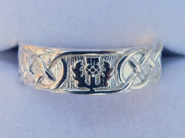 Scottish Thistle Ring in Polished Silver: 8 / 56.75