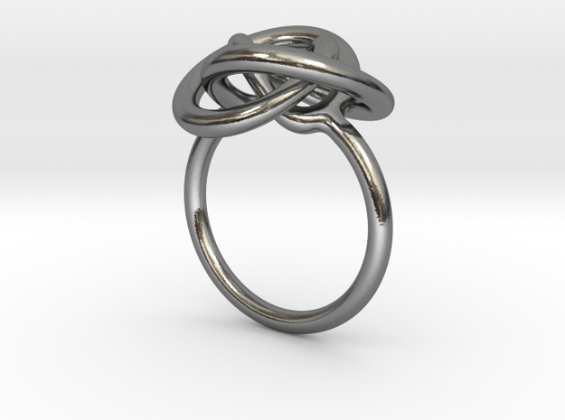Infinity Knot Ring in Polished Silver: 7 / 54