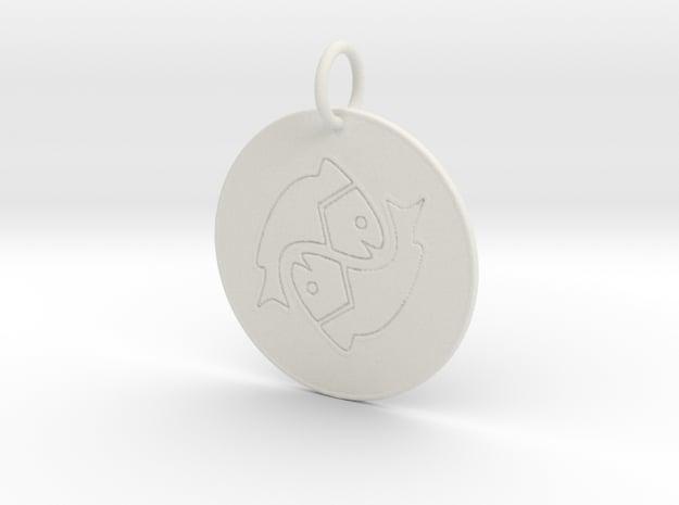 Pisces Keychain in White Natural Versatile Plastic
