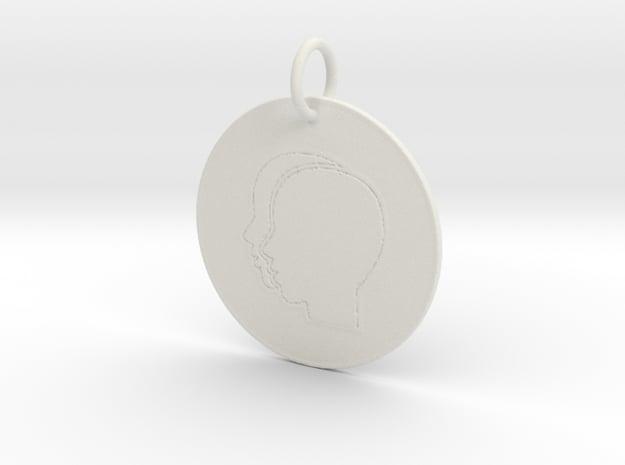 Gemini Keychain in White Natural Versatile Plastic