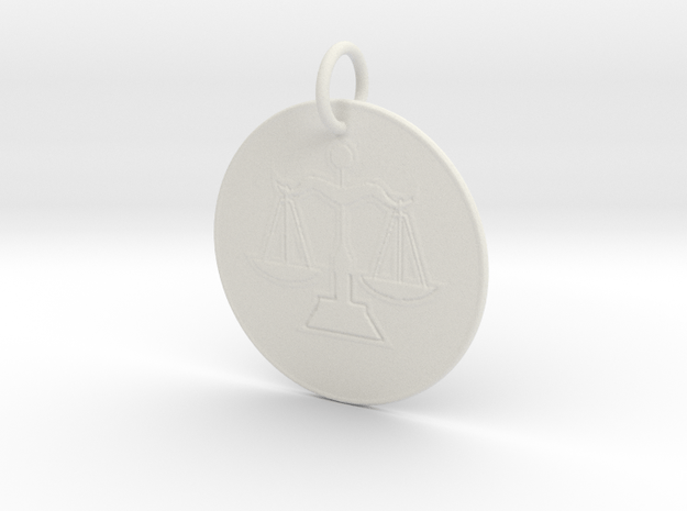 Libra Keychain in White Natural Versatile Plastic