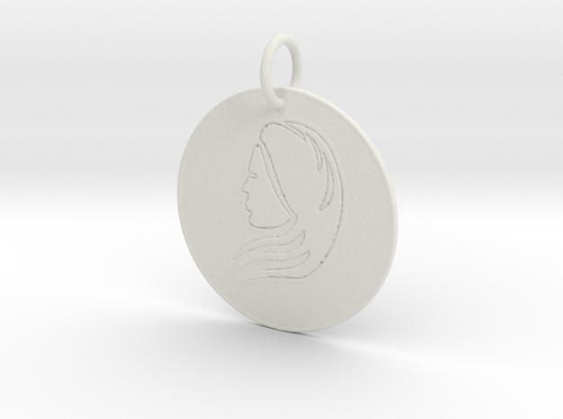 Virgo Keychain in White Natural Versatile Plastic