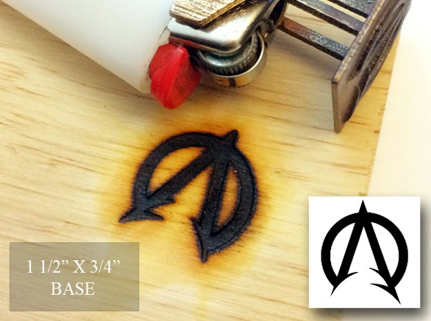"""Bic Lighter Branding Iron - 1 1/2"""" X 3/4"""" in Polished Bronzed Silver Steel"""