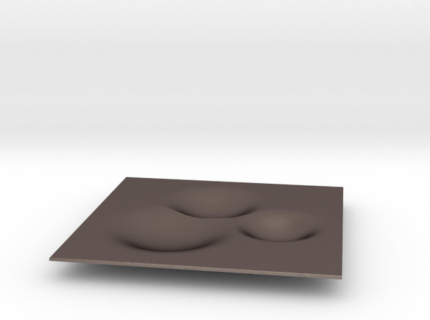 Bubble Tray 24x24 cm in Polished Bronzed Silver Steel