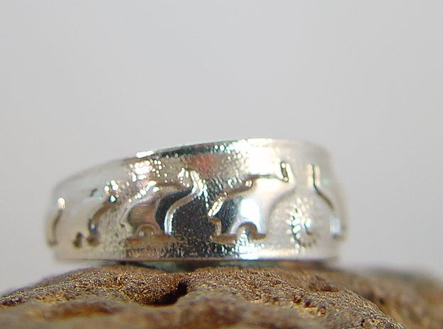Marching Elephants Ring in Polished Silver