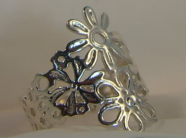 Spring  Flower Ring in Polished Silver