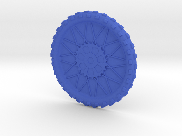 Motorcycle wheel and tire beverage coaster, small in Blue Processed Versatile Plastic