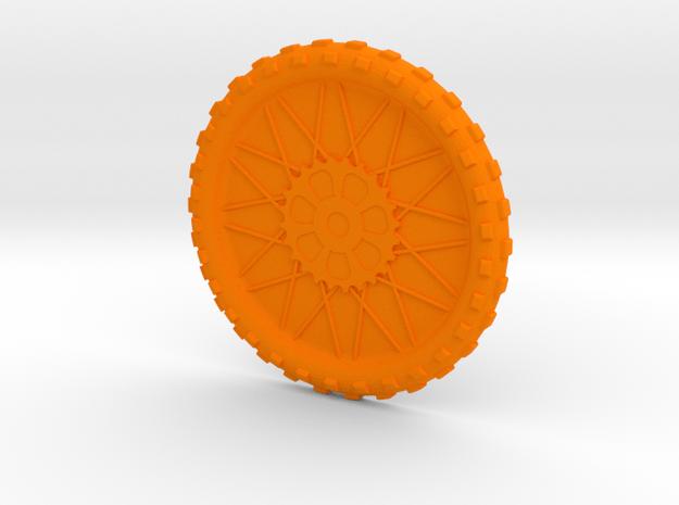 Motorcycle wheel and tire beverage coaster, large in Orange Processed Versatile Plastic