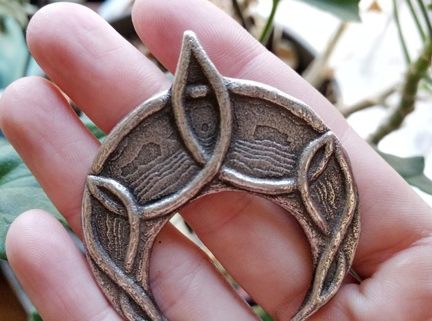 Mani Pendant in Polished Bronzed Silver Steel
