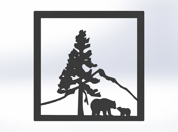 Bears Under The Mountain 8 X 8 (M) in White Natural Versatile Plastic