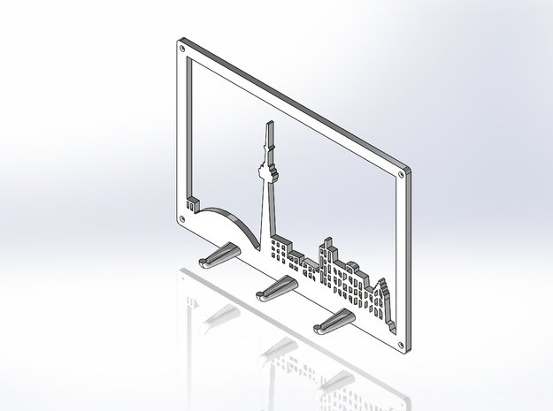 Toronto Skyline - Key Chain Holder With Border in White Natural Versatile Plastic