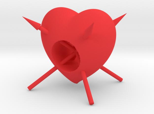 Arrow Through Heart in Red Processed Versatile Plastic