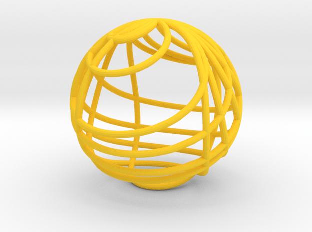 Zeta Stereograph in Yellow Processed Versatile Plastic