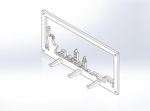 New York Skyline - Key Chain Holder With Border in White Natural Versatile Plastic
