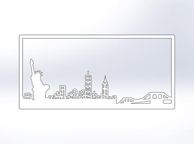 New York Skyline - 11 X 23 (XL) in White Natural Versatile Plastic