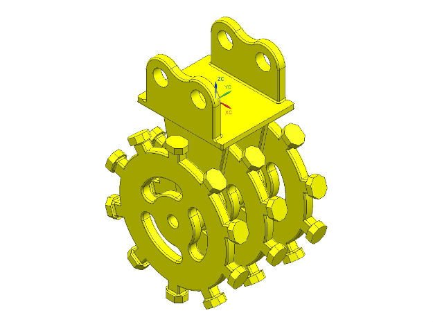 1:50 rotary compactor with flange mount in Smooth Fine Detail Plastic