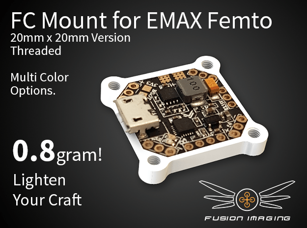 Femto FC 20x20mm Mount / Transfer Plate in White Natural Versatile Plastic