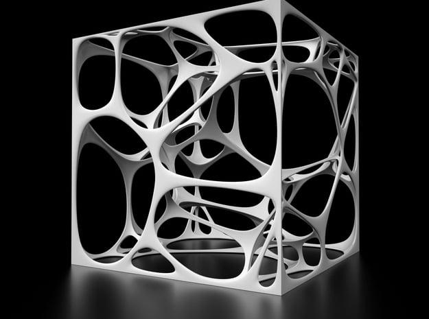 Voronoi Cube in White Natural Versatile Plastic