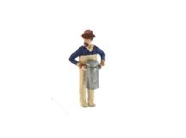 HO Scale DairyMan Lugging Milk Can Figure in Smooth Fine Detail Plastic