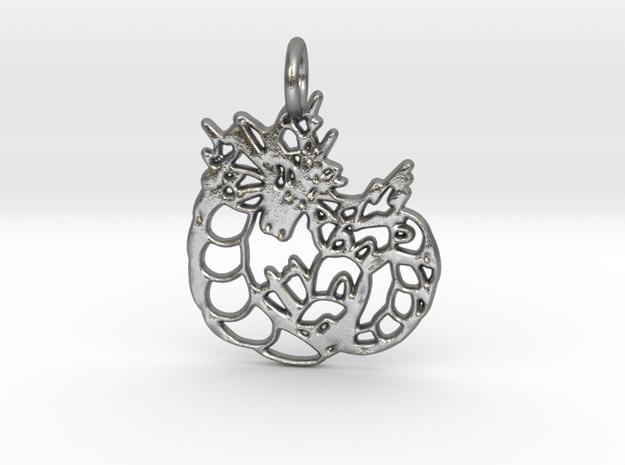 Gyarados Pendant in Natural Silver