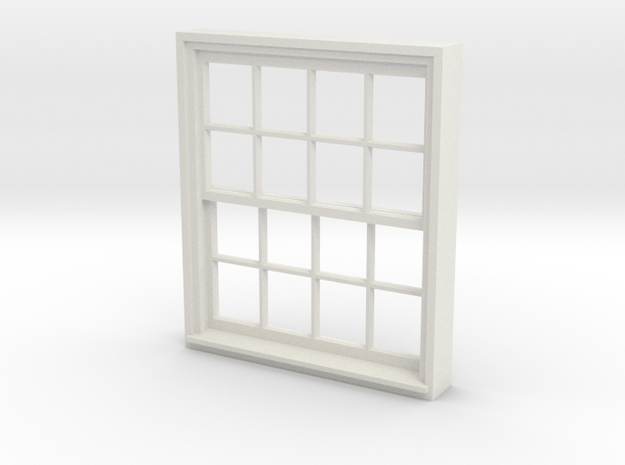 Window, 52in X 60in, 16 Panes, 1/32 Scale in White Natural Versatile Plastic