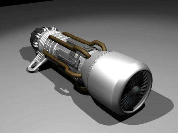 Jet Engine Keychain in Smooth Fine Detail Plastic