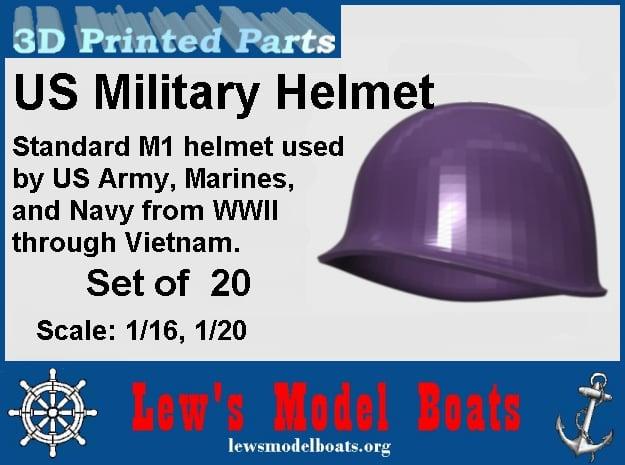 Hemet, US Army, WWII through Vietnam, 1/16 & 1/20  in Smooth Fine Detail Plastic: 1:20