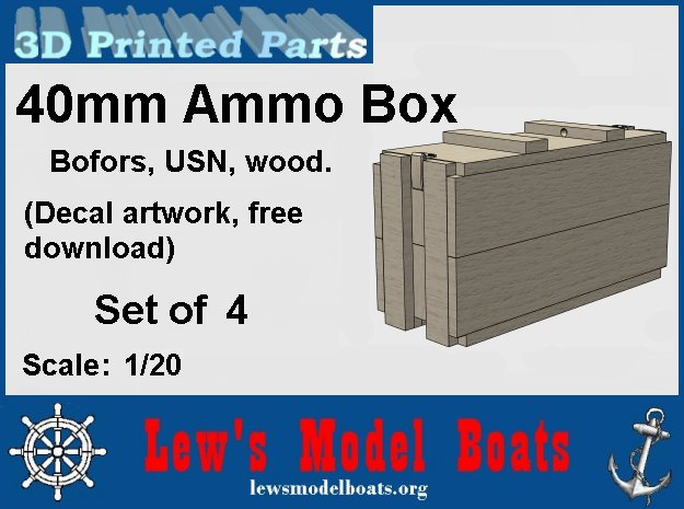 """1/20 scale 40 mm Bofors """"wood"""" ammo boxes (4) US N in White Natural Versatile Plastic: 1:20"""