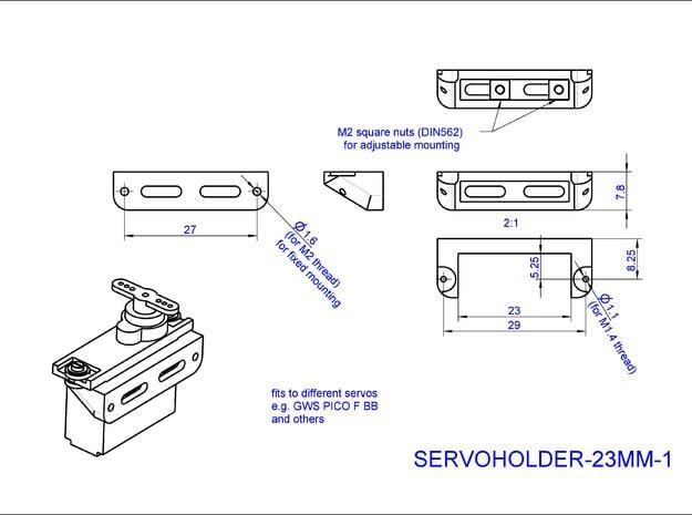 Servoholder-23mm-1-4pieces in White Natural Versatile Plastic
