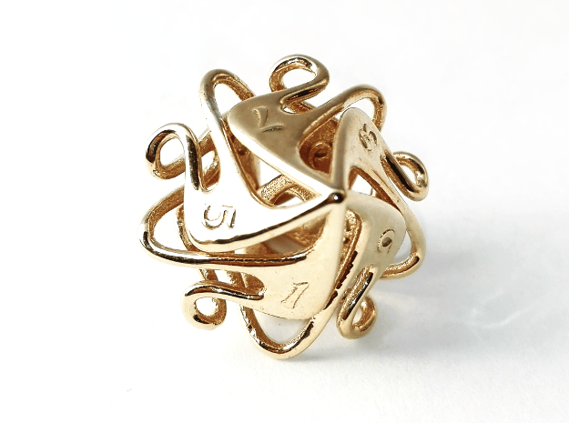 Curlicue 10-Sided Dice (alternate) in Polished Brass