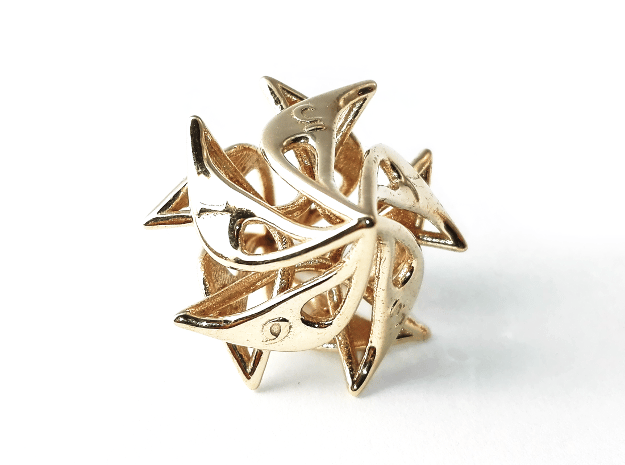 Curlicue 10-Sided Dice in Polished Brass