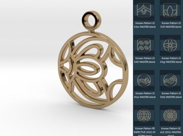 Korean Pendant Freedom in Polished Brass