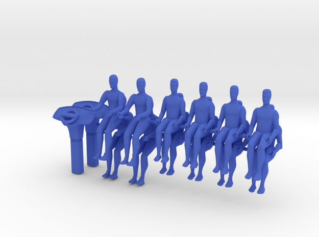 12x Seated person, scale 1:43 in Blue Processed Versatile Plastic