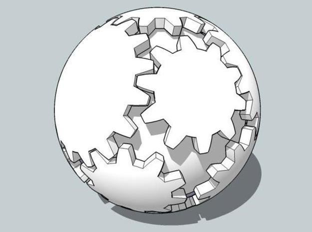 Gear Ball in White Natural Versatile Plastic