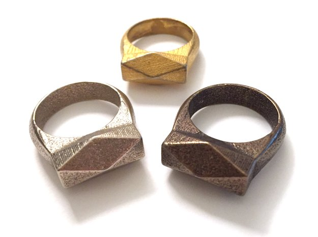 Chunky Hedron Ring in Polished Gold Steel: 7 / 54