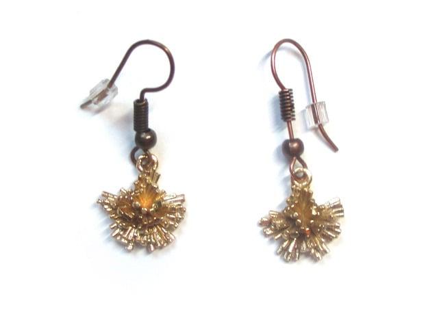 Peony Earrings in Polished Brass