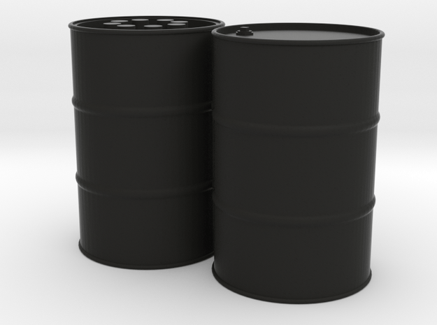 55 Gal Drum, Closed Top with Beer Cans, x2 in Black Natural Versatile Plastic